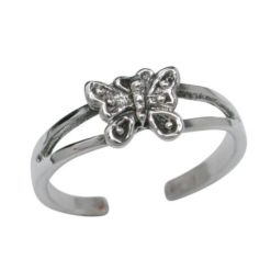 Sterling Silver 6mm Butterfly Toe Ring