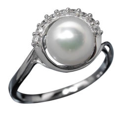 Sterling Silver 10mm White Fresh Water Pearl And White Cubic Zirconia Ring