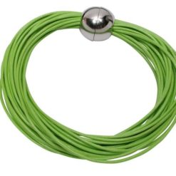Stainless Steel 24 Strand Lime Green Leather Bracelet 19cm