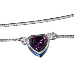 Sterling Silver 8mm Purple Cubic Zirconia Heart Snake Chain Necklet 40cm