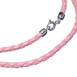Sterling Silver 2.5mm Pink Plaited Leather Necklet