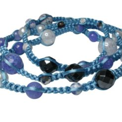 Sterling Silver Multi Gemstone & Crystal Woven Blue Cord Necklet Or Multi Wrap Bracelet 85cm