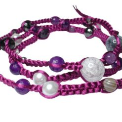 Sterling Silver Multi Gemstone & Crystal Woven Purple Cord Necklet Or Multi Wrap Bracelet 85cm