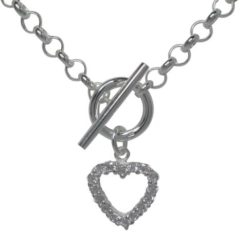 Sterling Silver 13mm White Cubic Zirconia Heart Fob Necklet 45cm