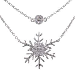 Sterling Silver 20mm White Cubic Zirconia Snowflake Double Strand Necklet 40-45cm