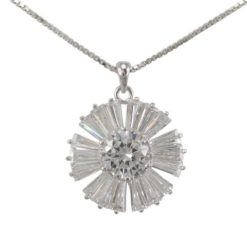 Sterling Silver 15mm White Tapered Baguette Cubic Zirconia Flower Necklet 40cm