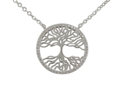 Sterling Silver 20mm Round White Cubic Zirconia Tree Of Life Necklet 40-42cm