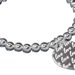 Sterling Silver 6mm Ball Bracelet With Heart 19cm