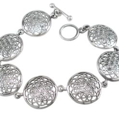 Sterling Silver 18mm Flower Of Life (sacred Geometry) Bracelet