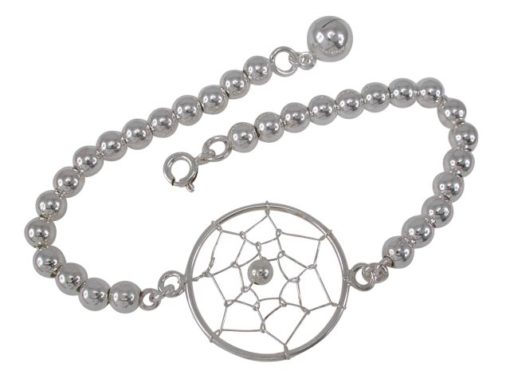Sterling Silver 25mm Dream Catcher & Ball Bracelet 19cm