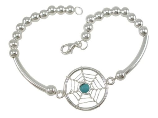 Sterling Silver 20mm Blue Turquoise Dream Catcher Bracelet 19cm
