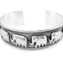 Sterling Silver 21mm Rope Edge Elephant Cuff Bangle