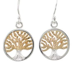 Sterling Silver & Gold Plated 13mm Tree Of Life Drop Earrings