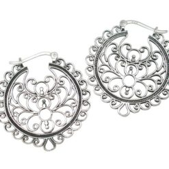 Sterling Silver 30x32mm Oxidised Gypsy Style Hoop Earrings