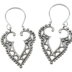 Sterling Silver 40x23mm Bohemian Style Drop Earrings