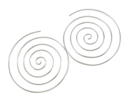 Sterling Silver 40mm Spiral Hoop Earrings