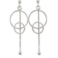 Sterling Silver 44x16mm Double Circle And Dangling Ball Stud Earrings