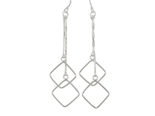 Sterling Silver 65x18mm Dangling Squares Drop Earrings