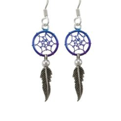 Sterling Silver 26x10mm Blue Anodised Single Feather Dream Catcher Drop Earrings