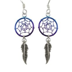 Sterling Silver 29x12mm Blue Anodised Single Feather Dream Catcher Drop Earrings