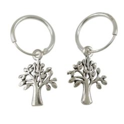 Sterling Silver 12x24mm Tree Of Life Hoop Earrings