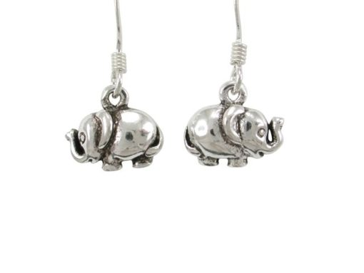 Sterling Silver 11x8mm Elephant Drop Earrings