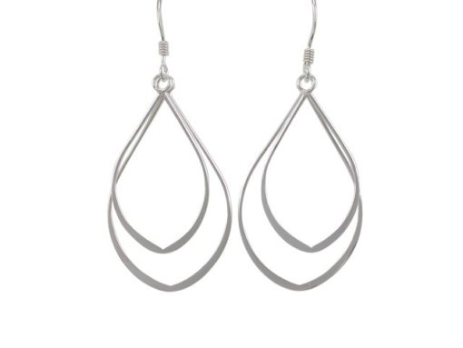 Sterling Silver 31x20mm Double Teardrop Drop Earrings