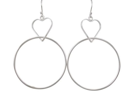 Sterling Silver 16mm Heart And 35mm Circle Drop Earrings