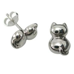 Sterling Silver 11x8mm Cat Stud Earrings