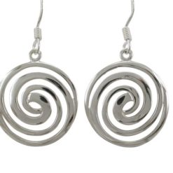 Sterling Silver 19mm Spiral Drop Earrings