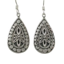 Sterling Silver 25x16mm Teardrop Bohemian Style Drop Earrings
