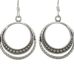 Sterling Silver 21mm Round Bohemian Style Drop Earrings