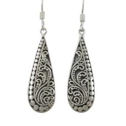 Sterling Silver 28x10mm Teardrop Bohemian Style Drop Earrings