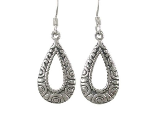 Sterling Silver 22x13mm Teardrop Bohemian Style Drop Earrings