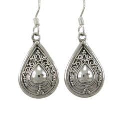 Sterling Silver 19x13mm Teardrop Bohemian Style Drop Earrings