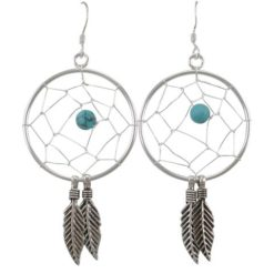 Sterling Silver 25x40mm Blue Turquoise Dream Catcher Drop Earrings