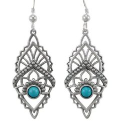 Sterling Silver 33x17mm Blue Turquoise Bohemian Style Drop Earrings