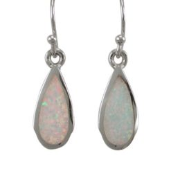 Sterling Silver 15x7mm Teardrop White Synthetic Opal Drop Earrings