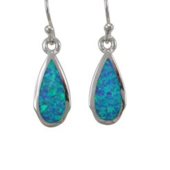 Sterling Silver 15x7mm Teardrop Blue Synthetic Opal Drop Earrings