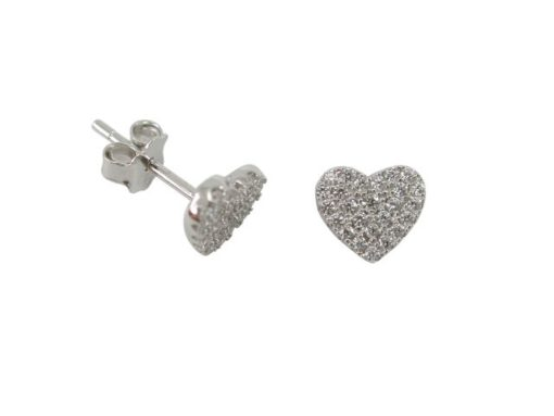 Sterling Silver 7mm White Cubic Zirconia Heart Stud Earrings