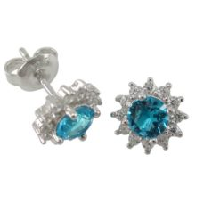 Sterling Silver 9mm Aqua & White Cubic Zirconia Round Cluster Stud Earrings