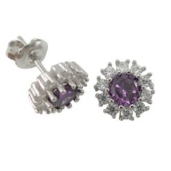 Sterling Silver 10mm Purple & White Cubic Zirconia Round Cluster Stud Earrings