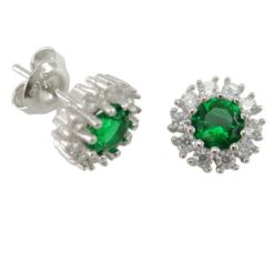 Sterling Silver 10mm Green & White Cubic Zirconia Round Cluster Stud Earrings