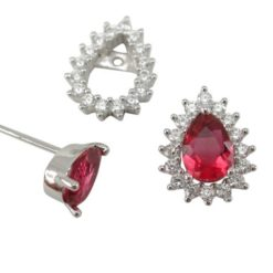 Sterling Silver 10x8mm Red Cubic Zirconia Teardrop Removeable Surround Stud Earrings