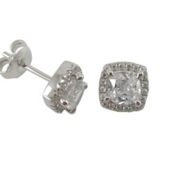 Sterling Silver 8mm White Cubic Zirconia Cushion Stud Earrings