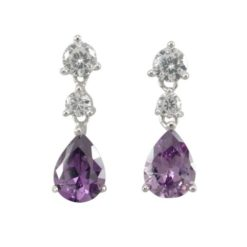Sterling Silver 18x6mm Teardrop Purple Cubic Zirconia Stud Earrings