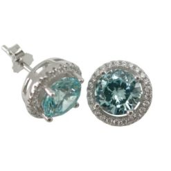 Sterling Silver 10mm Round Aqua Cubic Zirconia Stud Earrings