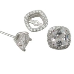 Sterling Silver 5mm Cushion White Cubic Zirconia & 9mm White Cubic Zirconia Removeable Surround Stud Earrings