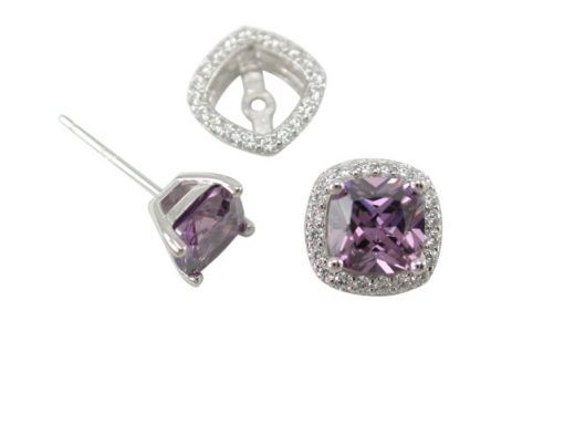 Sterling Silver 5mm Cushion Purple Cubic Zirconia & 9mm White Cubic Zirconia Removeable Surround  Stud Earrings