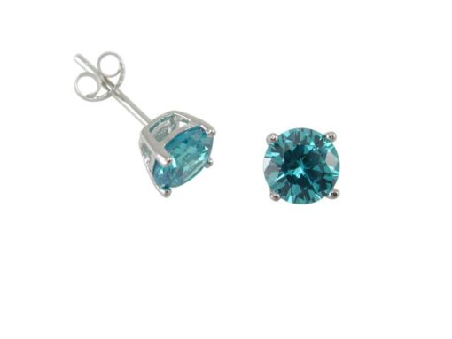 Sterling Silver 6mm Round Aqua Cubic Zirconia Stud Earrings